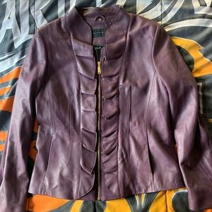 Elie Tahari Soft Leather full-zip light jacket Med